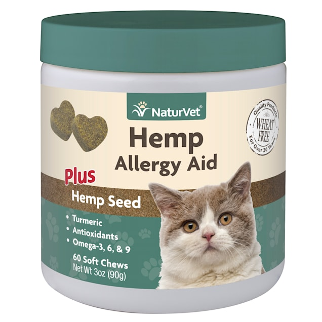 NaturVet Hemp Allergy Aid Plus Hemp Seed Soft Chew for Cats, Count of 60 - Carousel image #1