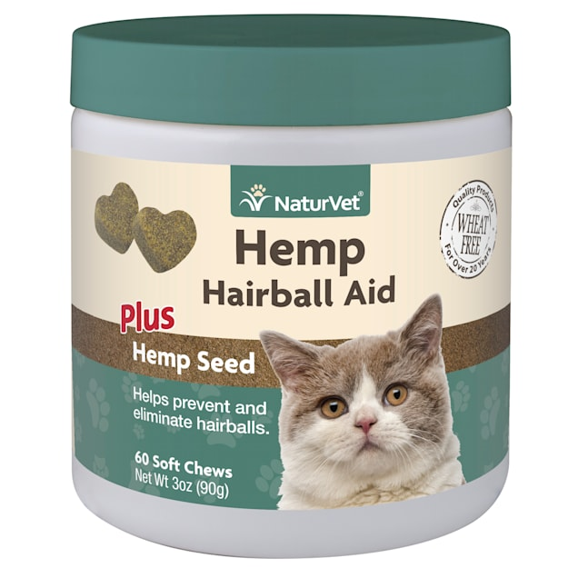 NaturVet Hemp Hairball Aid Plus Hemp Seed Soft Chew for Cats, Count of 60 - Carousel image #1