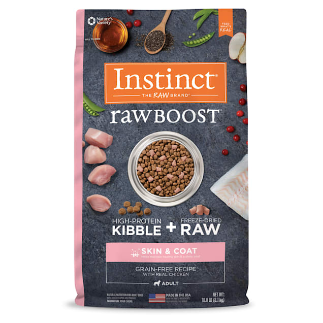 Instinct Raw Boost Skin & Coat Health Grain-Free Recipe with Real Chicken Dry Dog Food with Freeze-Dried Raw Pieces, 18 lbs. - Carousel image #1
