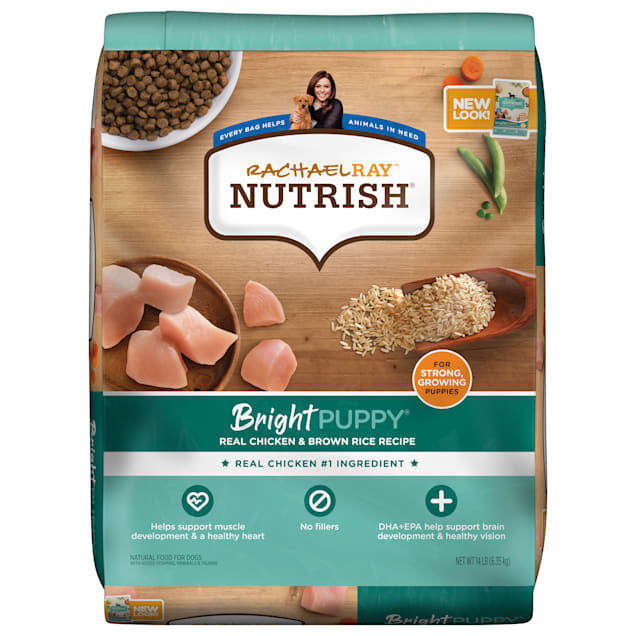 Rachael Ray Nutrish Bright Puppy Natural Real Chicken & Brown Rice Recipe Dry Food, 14 lbs. - Carousel image #1