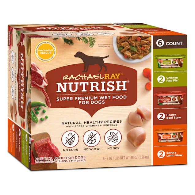 Rachael Ray Nutrish Natural Hearty Beef Stew, Chicken Paw Pie & Savory Lamb Stew Variety Pack Wet Dog Food, 8 oz., Pack of 6 - Carousel image #1