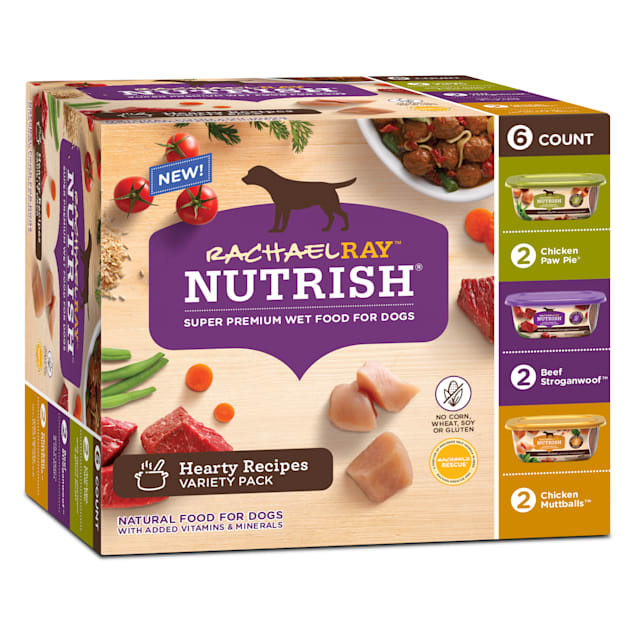 Rachael Ray Nutrish Natural Hearty Recipes Variety Pack Wet Dog Food, 8 oz., Pack of 6 - Carousel image #1