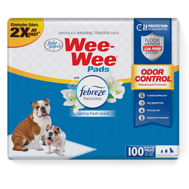 Four Paws Wee-Wee Odor Control with Febreze Freshness Pads for Dogs, Count of 100 - Carousel image #1