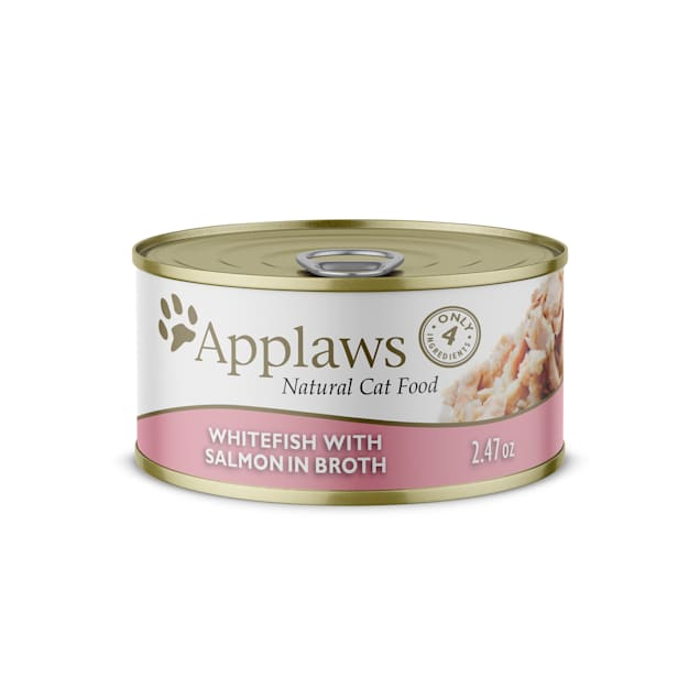 Applaws Natural Whitefish with Salmon in Broth Wet Cat Food, 2.47 oz., Case of 24 - Carousel image #1