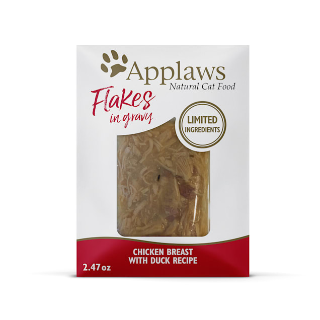 Applaws Natural Chicken Flakes with Duck in Gravy Wet Cat Food, 2.47 oz., Case of 12 - Carousel image #1
