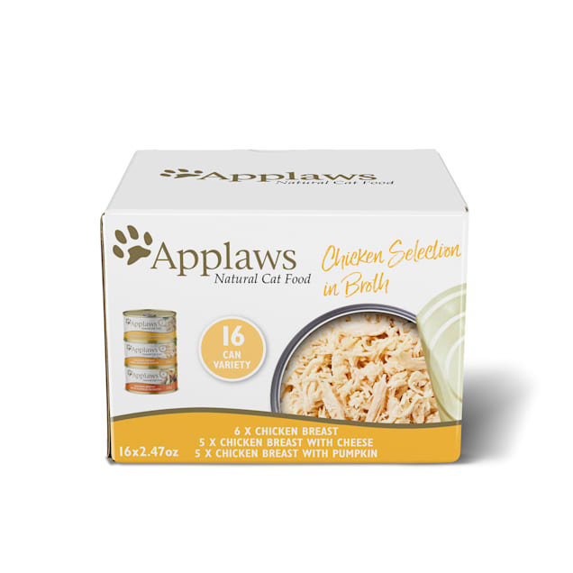 Applaws Natural Chicken Selection in Broth Multipack Wet Cat Food, 2.47 oz., Count of 16 - Carousel image #1