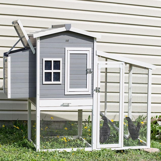 "New Age Pet ecoFLEX Hampton Chicken Barn and Pen in Grey, 29.9"" L X 74.8"" W X 46.5"" H - Carousel image #1"