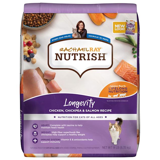 Rachael Ray Nutrish Longevity Natural Chicken with Chickpeas & Salmon Recipe Dry Cat Food, 14 lbs. - Carousel image #1