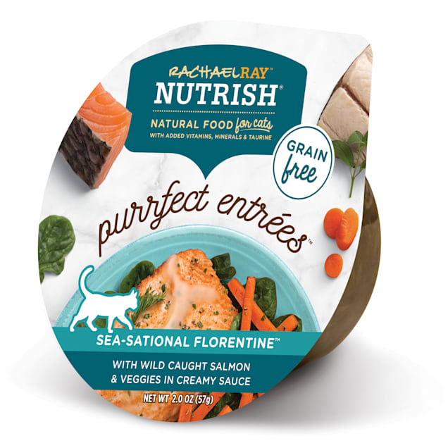 Rachael Ray Nutrish Purrfect Entrees Grain Free Natural Salmon & Veggies in Creamy Sauce Wet Cat Food, 2 oz., Case of 24 - Carousel image #1