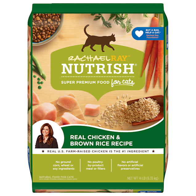 Rachael Ray Nutrish Natural Chicken & Brown Rice Recipe Dry Cat Food, 14 lbs. - Carousel image #1