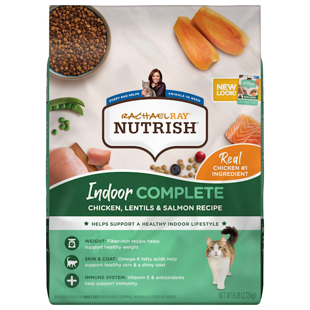 Rachael Ray Nutrish Indoor Complete Natural Chicken with Lentils & Salmon Recipe Dry Cat Food, 6 lbs. - Carousel image #1