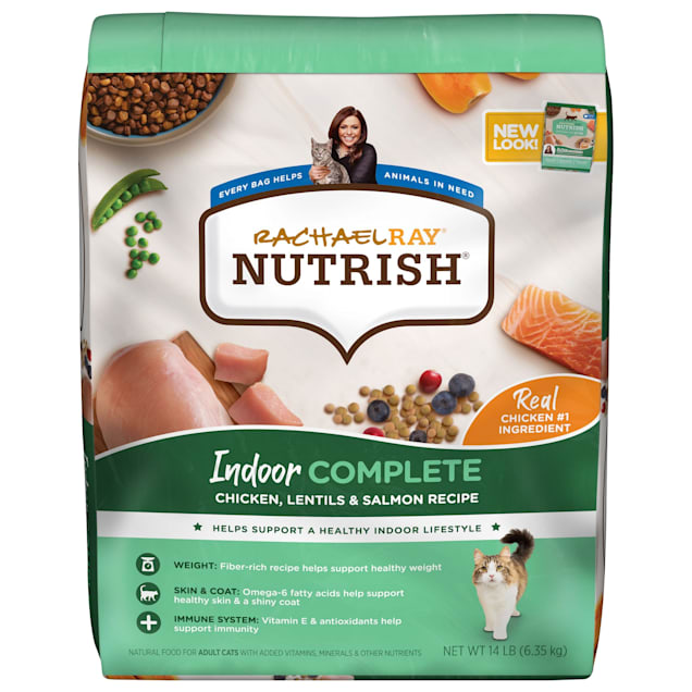 Rachael Ray Nutrish Indoor Complete Natural Chicken with Lentils & Salmon Recipe Dry Cat Food, 14 lbs. - Carousel image #1