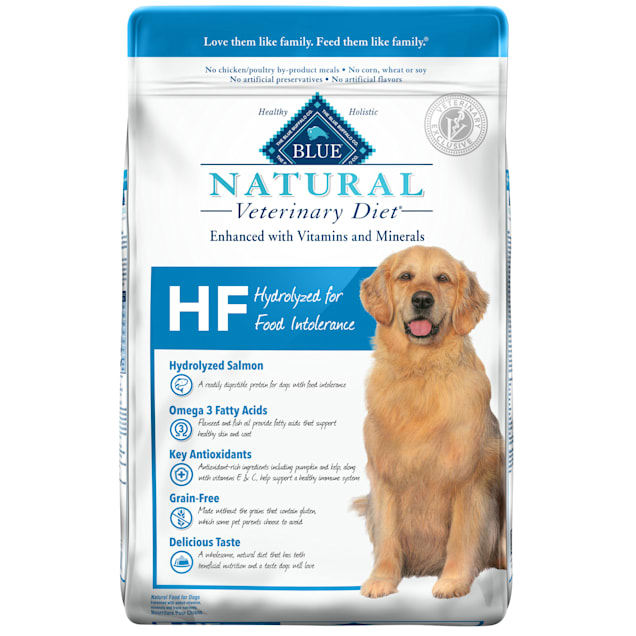 Blue Buffalo Natural Veterinary Diet HF Hydrolyzed for Food Intolerance Salmon Dry Dog Food, 22 lbs. - Carousel image #1