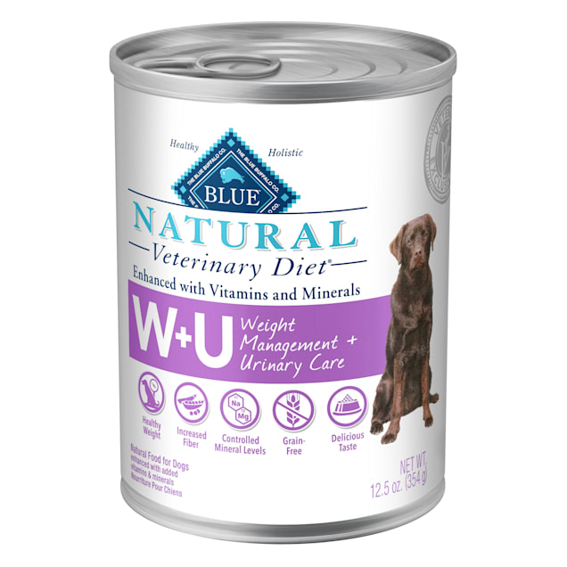 Blue Buffalo Natural Veterinary Diet W+U Weight Management + Urinary Care Canned Dog Food, 12.5 oz., Case of 12 - Carousel image #1