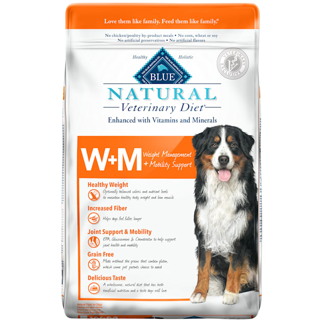 Blue Buffalo Natural Veterinary Diet W+M Weight Management + Mobility Support Salmon Dry Dog Food, 22 lbs. - Carousel image #1