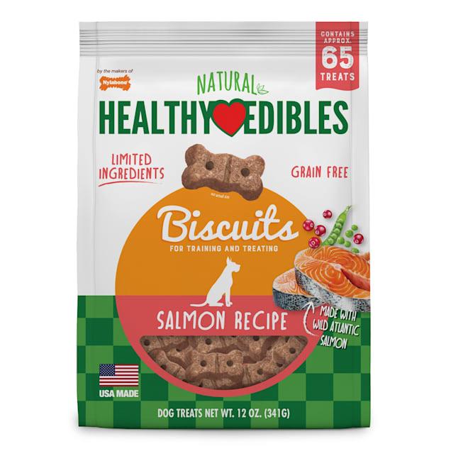 Nylabone Healthy Edibles Biscuits Salmon Flavor Dog Treats, 12 oz. - Carousel image #1