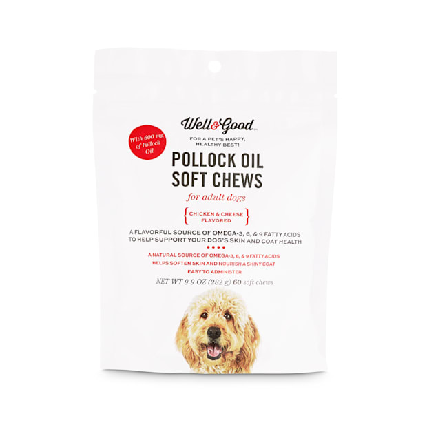 Well & Good Pollock Oil Adult Dog Soft Chews with 600 Mg of Pollock Oil, Count of 60 - Carousel image #1