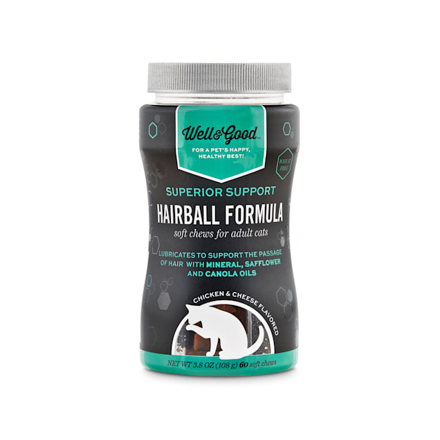 Well & Good Superior Support Hairball Formula Soft Chews for Adult Cats, Count of 60 - Carousel image #1