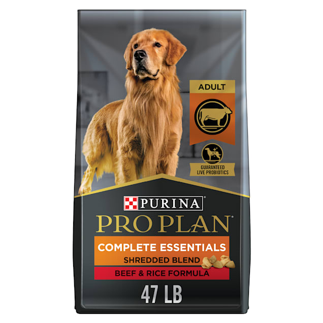 Purina Pro Plan With Probiotics High Protein Shredded Blend Beef & Rice Formula Dry Dog Food, 47 lbs. - Carousel image #1
