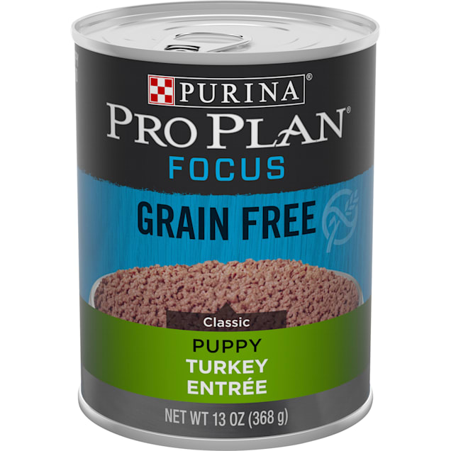 Purina Pro Plan Grain Free, High Protein Focus Classic Turkey Entree Wet Puppy Food, 13 oz., Case of 12 - Carousel image #1
