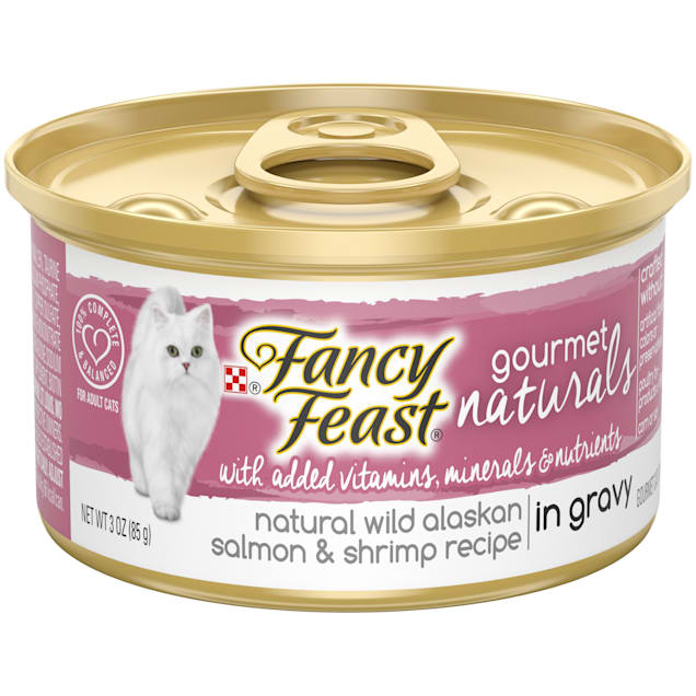 Fancy Feast Gourmet Naturals Wild Alaskan Salmon & Shrimp in Gravy Wet Cat Food, 3 oz., Case of 12 - Carousel image #1