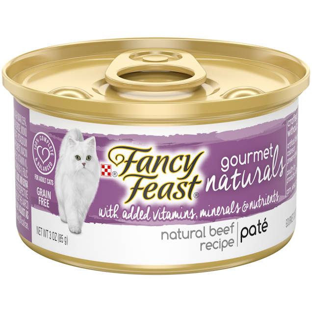 Fancy Feast Gourmet Naturals Beef Recipe Pate Wet Cat Food, 3 oz., Case of 12 - Carousel image #1