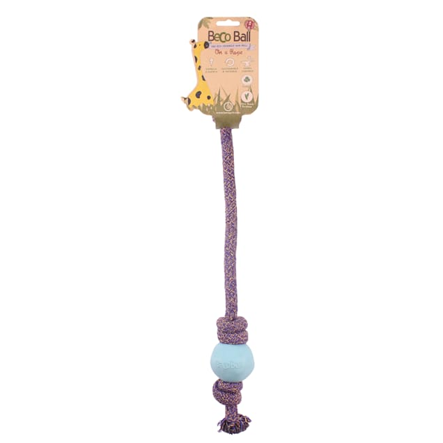 Beco Pet Rubber Ball on a Rope Blue Dog Toy, Small - Carousel image #1