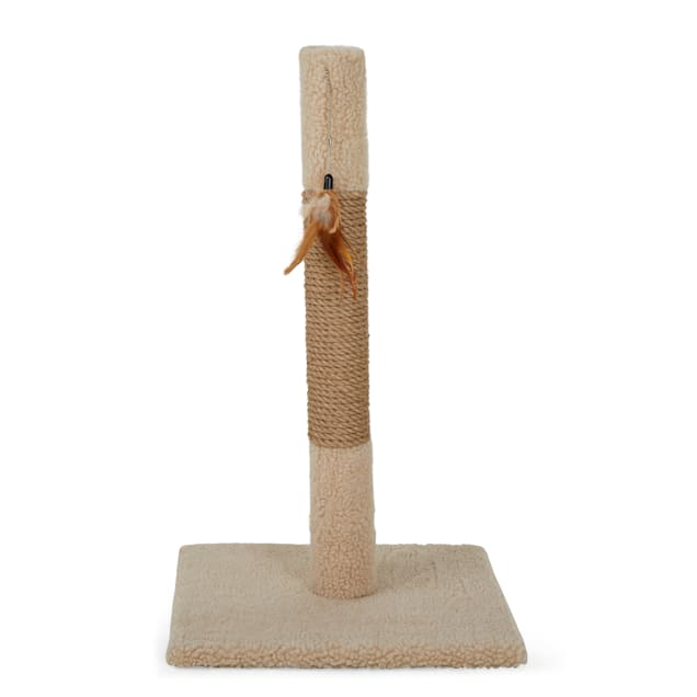 "Animaze Scratcher Post with Feather Tan Cat Toy, 25.5"" H - Carousel image #1"