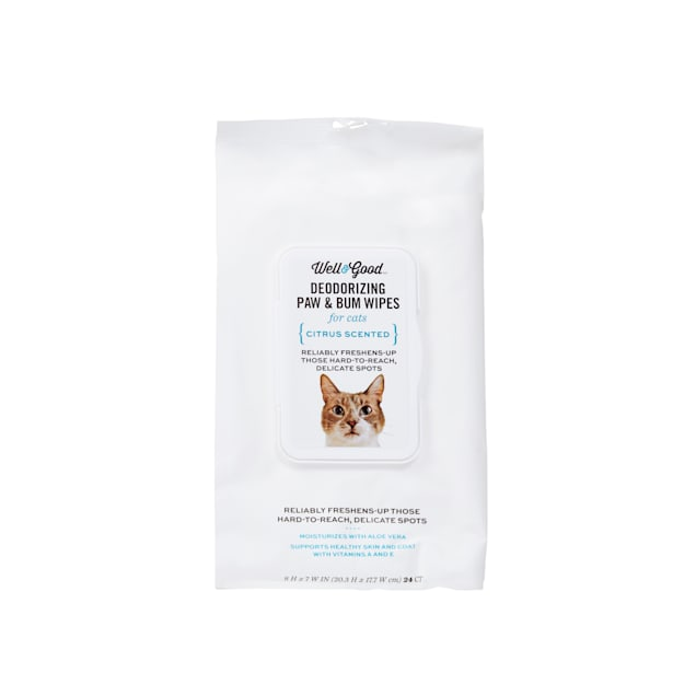 Well & Good Deodorizing Paw and Bum Cat Wipes, Pack of 24 - Carousel image #1