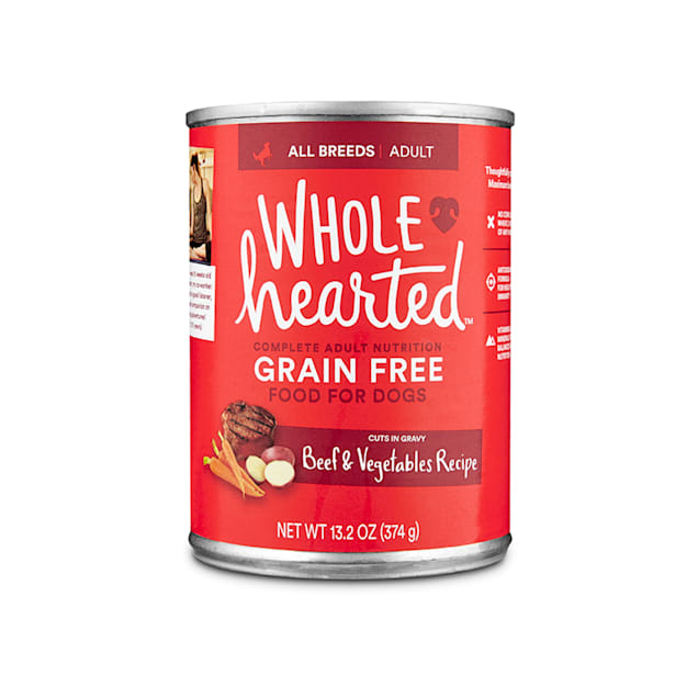 WholeHearted Grain Free Adult Beef and Vegetable Recipe Wet Dog Food, 13.2 oz., Case of 12 - Carousel image #1