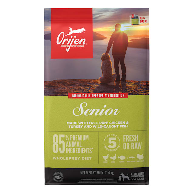 ORIJEN Senior Grain Free High Protein Fresh & Raw Animal Ingredients Dry Dog Food, 25 lbs. - Carousel image #1