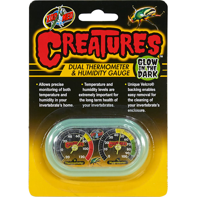 Zoo Med Creatures Dual Thermometer & Humidity Gauge Glow in the Dark - Carousel image #1