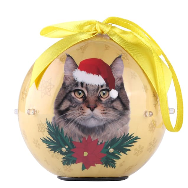 CueCuePet Longhair Cat Collection Twinkling Lights Christmas Ball Ornament, Medium - Carousel image #1