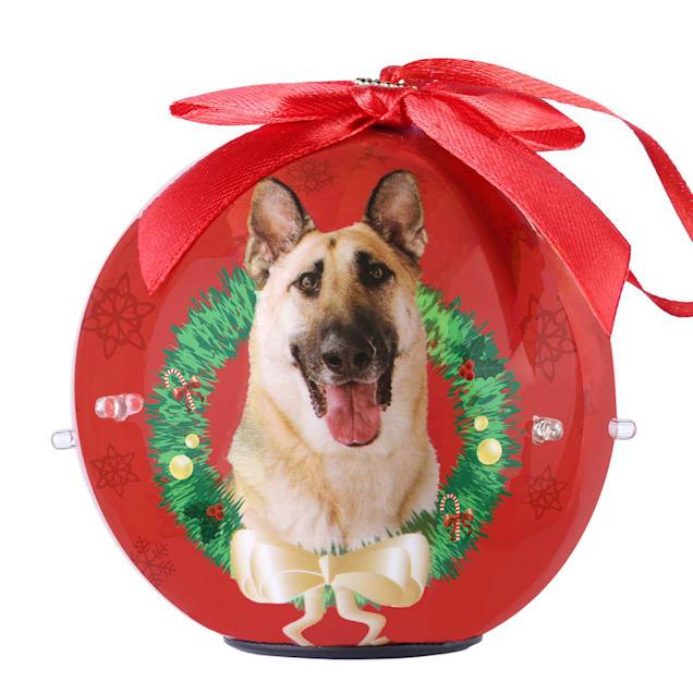 CueCuePet German Shepherd Dog Collection Twinkling Lights Christmas Ball Ornament, Medium - Carousel image #1