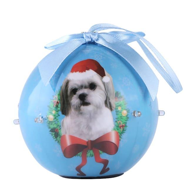 CueCuePet Shih Tzu Dog Collection Twinkling Lights Christmas Ball Ornament, Medium - Carousel image #1