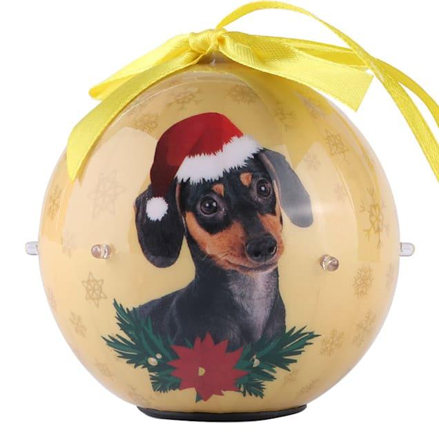 CueCuePet Dachshund Dog Collection Twinkling Lights Christmas Ball Ornament, Medium - Carousel image #1