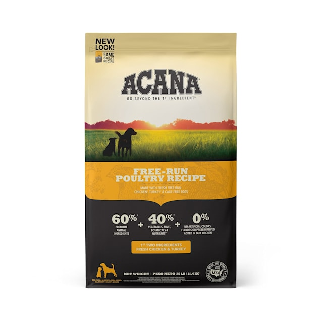 ACANA Grain-Free Free Run Poultry Chicken and Turkey and Cage-free Eggs Dry Dog Food, 25 lbs. - Carousel image #1