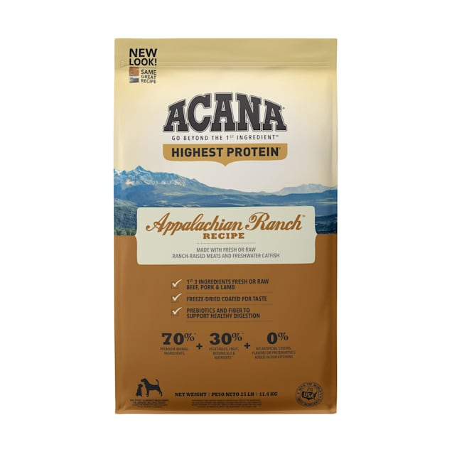 ACANA Appalachian Ranch Grain Free High Protein Freeze-Dried Coated Beef Pork Lamb Bison and Fish Dry Dog Food, 25 lbs. - Carousel image #1