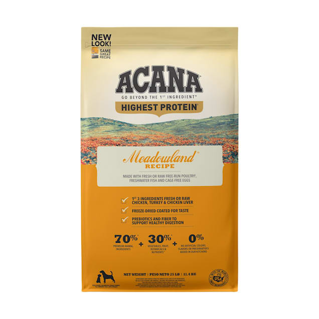 ACANA Meadowland Grain-Free High Protein Freeze-Dried Coated Chicken Turkey Fish Cage-Free Eggs Dry Dog Food, 25 lbs. - Carousel image #1