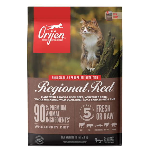 ORIJEN Grain Free Regional Red Premium High Protein Fresh & Raw Animal Ingredients Dry Cat Food, 12 lbs. - Carousel image #1