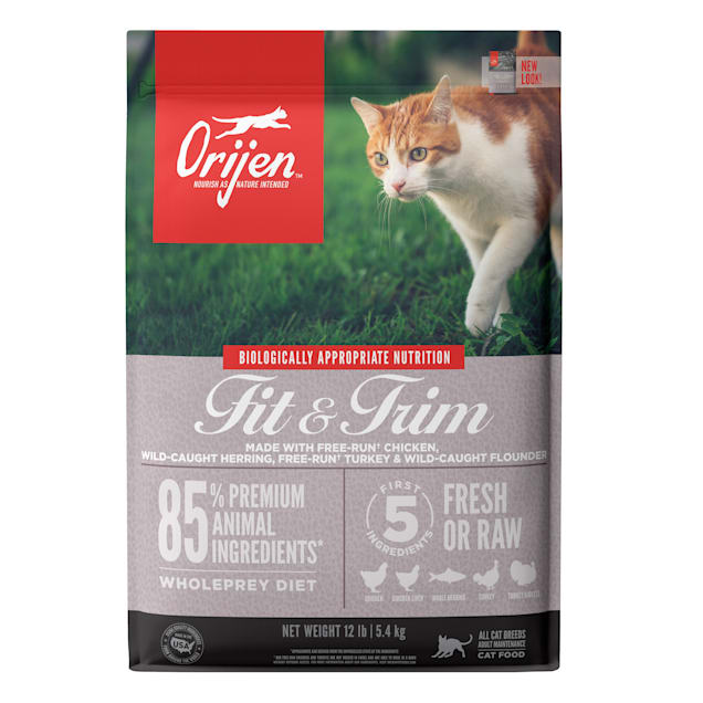 ORIJEN Grain Free Fit & Trim Support Healthy Weight Fresh & Raw Animal Ingredients Dry Cat Food, 12 lbs. - Carousel image #1