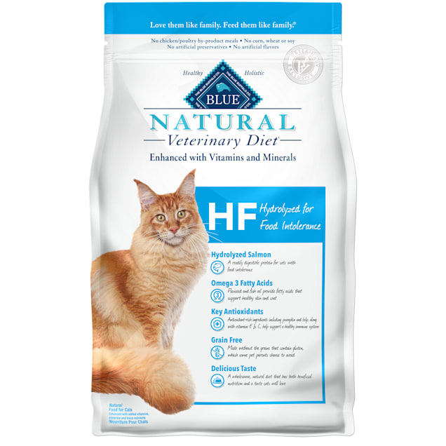Blue Buffalo Natural Veterinary Diet HF Hydrolyzed for Food Intolerance Dry Cat Food, 7 lbs. - Carousel image #1