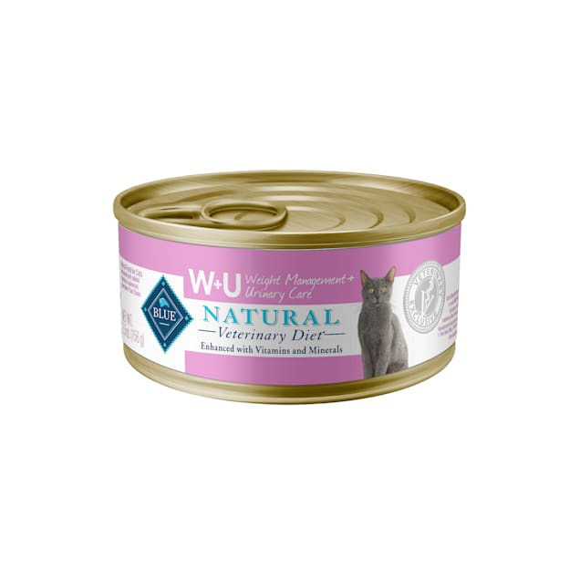 Blue Buffalo Natural Veterinary Diet W+U Weight Management + Urinary Care Canned Wet Cat Food, 5.5 oz., Case of 24 - Carousel image #1