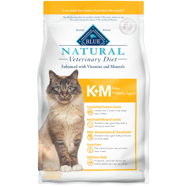 Blue Buffalo Natural Veterinary Diet KM Kidney + Mobility Support Dry Cat Food, 7 lbs. - Carousel image #1