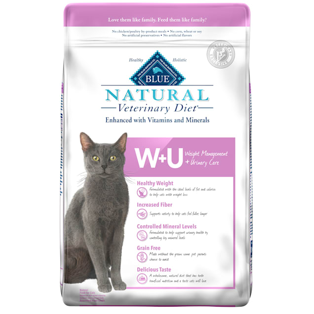 Blue Buffalo Natural Veterinary Diet W+U Weight Management + Urinary Care Dry cat Food, 16 lbs. - Carousel image #1
