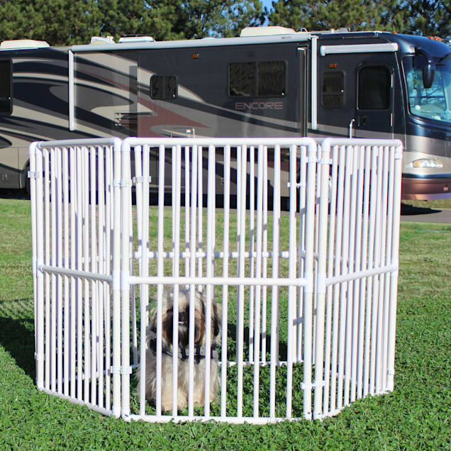 "Cardinal Gates Portable Outdoor White Pet Pen, 12' L X 2"" W X 3' H - Carousel image #1"