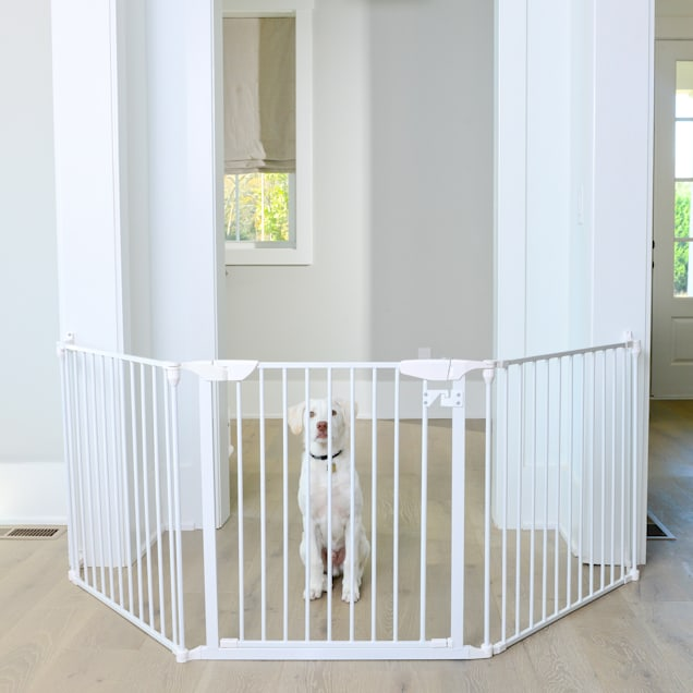 "Cardinal Gates Extra Wide Expandable White Pet Gate, 100"" L X 2"" W X 29.5"" W - Carousel image #1"