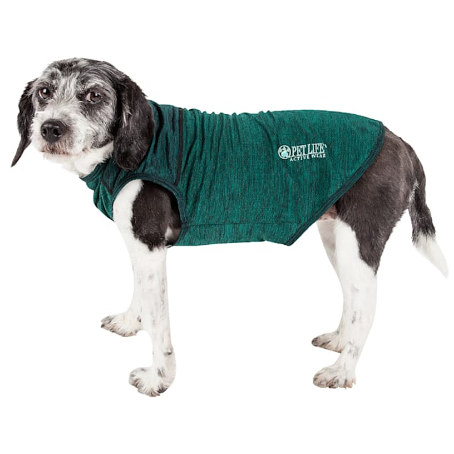 Pet Life Active Aero-Pawlse Heathered Green Quick-Dry Dog Tank Top T-Shirt, X-Small - Carousel image #1