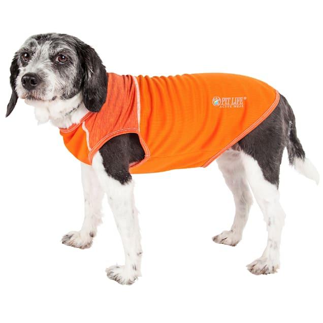 Pet Life Active Aero-Pawlse Heathered Orange Quick-Dry Dog Tank Top T-Shirt, X-Small - Carousel image #1