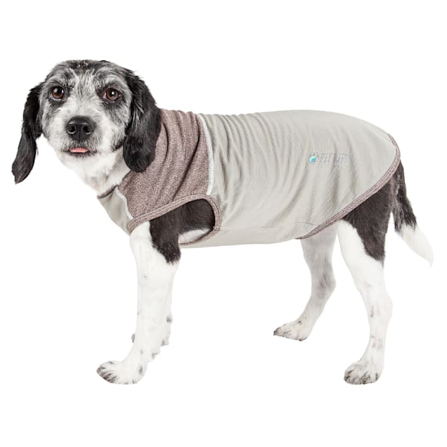 Pet Life Active Aero-Pawlse Heathered Grey Quick-Dry Dog Tank Top T-Shirt, X-Small - Carousel image #1